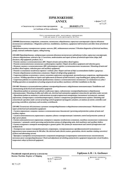 RS Certificate of Firm Conformity (Annex)